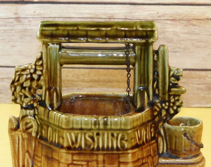 Vintage McCoy Wishing Well, Green & Light Golden Brown Collectible Ceramics, Blend Glaze Mid-Century Pottery, Country Americana West Decor