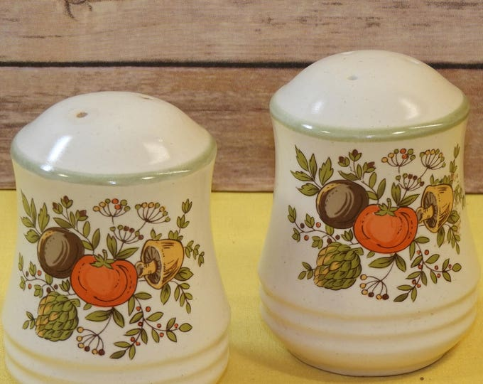 Vintage Vegetable Salt & Pepper Shakers, EC White w/Green Trim Tomato Mushroom Okra Theme Shakers, French Country Kitchen, Made in Japan