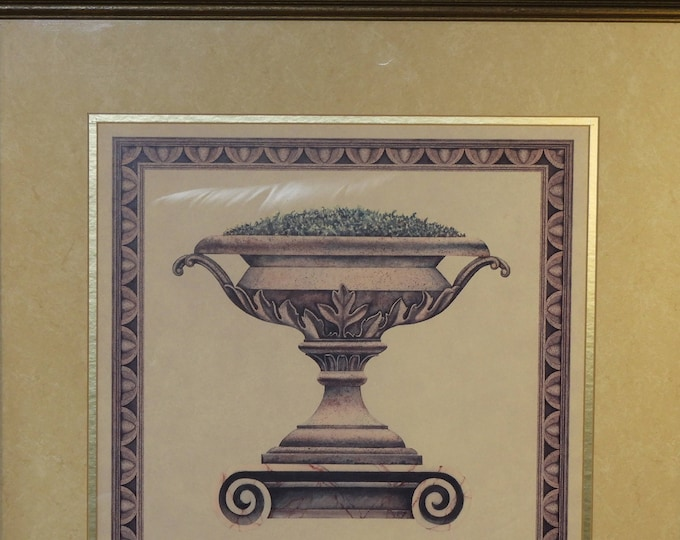 Vintage Roman Stone Planter Print, Grayish Gold Frame Purple Framed Garden Patio Picture, Retro Leaves Theme Green Grass, Marble Base Pot