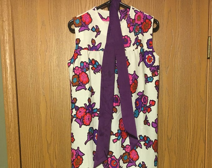 Vintage Purple Paisley Floral Dress, Pink White Evening Gown, Sleeveless Dress, Size 8, see Measurements Below, Custom Retro Formal Dress