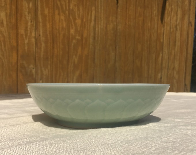Vintage Chinese Celadon Bowl, Koi Fish Scale Dish, Decorative Greenware, Oriental Serving Dish, Green Ceramic Dinnerware