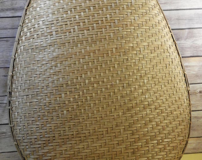 Vintage Rattan Winnowing Basket, Gold Brown Woven Tobacco Basket, Philippine Rice Basket, Large Decorative Wall Hanging, Made in Philippines