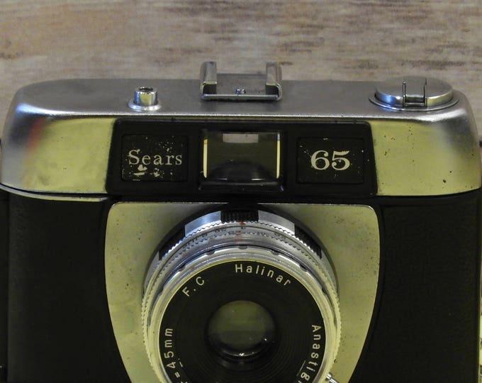 Vintage Rare Sears 65 Halinar Camera, F C Halinar 45 MM Anastigmat Photo Camera, Silver & Black Adjustable View, Manual Picture Collectible