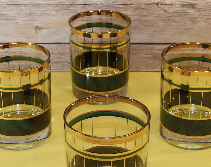 Vintage Metallic Green and Gold Glasses (4), Universal Container Corporation Water Glass, Decorative Glassware,Retro Green Gold Art Drinking