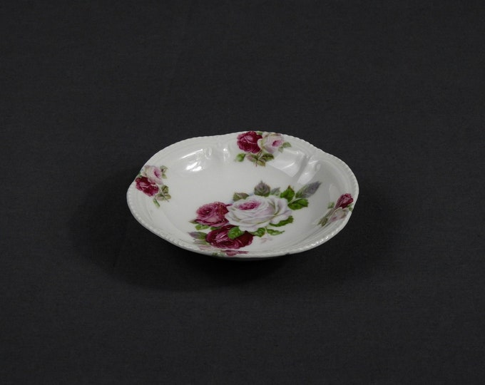 """Vintage Finger Bowl, China Dish, Red & White Rose, Scalloped Beaded Rim, Kitchen Decoration, Porcelain Collectible, Home Decor, 4.75"""" German"""