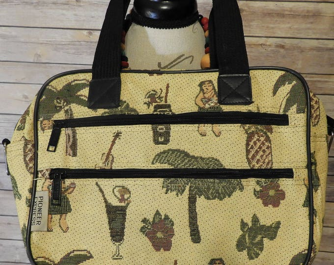 Vintage Pioneer Express Carry On Suitcase Hand Bag, Yellow & Green Tapestry Traveling Storage Bag, Caribbean Cruise Pineapple Case Bag