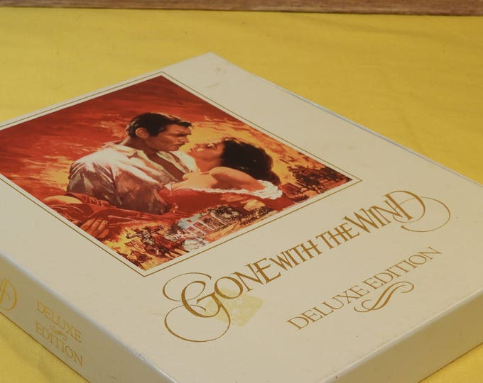 Vintage 1992 Gone With The Wind VHS Movies, White Gold Black Deluxe Edition VHS hifi M902130 Turner Broadcasting MGM,Box Show