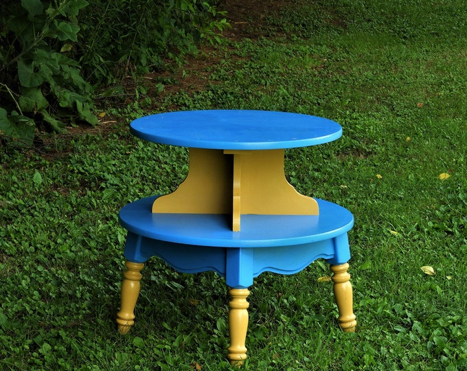 Vintage Accent Table, Two Tiered End Table, Round Blue & Gold Stand, Decorative Wood Furniture, Living Room Decor, Childrens Decoration