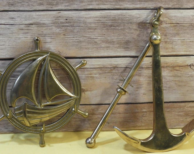 Vintage Nautical Brass Decor (2 pcs),Gold Captains Wheel Key Coat Hook, Solid Brass Anchor Paper Weight, Decorative Ocean Sea Wall Metal Art