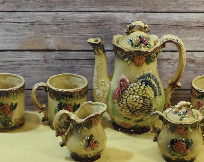Vintage Thanksgiving Table Set,Yellow Ceramic Turkey Tea Pot, Harvest Creamer Sugar Bowl and Cups, Decorative Serving Set, Autumn Dinnerware