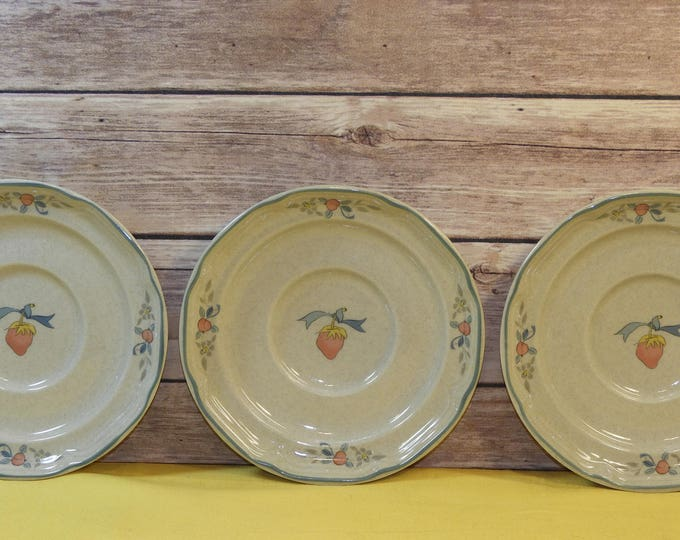 Vintage International China Saucers (3), Marmalade Decorative Plates, Goose Ceramic Stoneware Dishes, Blue White Beige