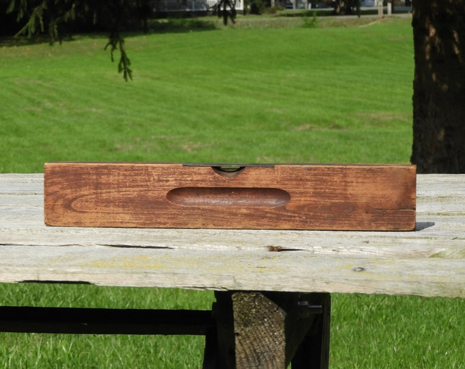 Antique Wooden Level, Stanley Rule & Level Co, 14 Inch Woodworkers Tool, Country Decor, Bookshelf Decoration, No Bubble