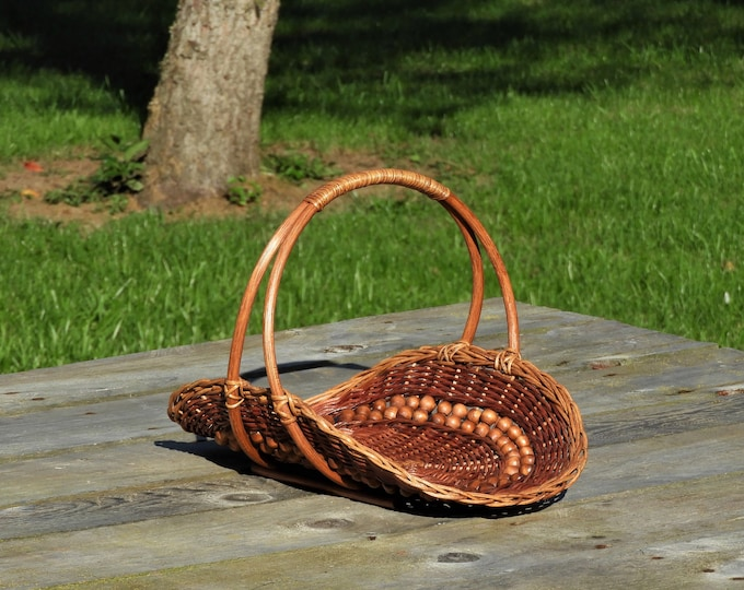 Vintage Centerpiece Basket, Wicker Rattan Decor, Brown Entryway Storage, Wooden Beaded Basket, Harvest Decoration, Mission Craft