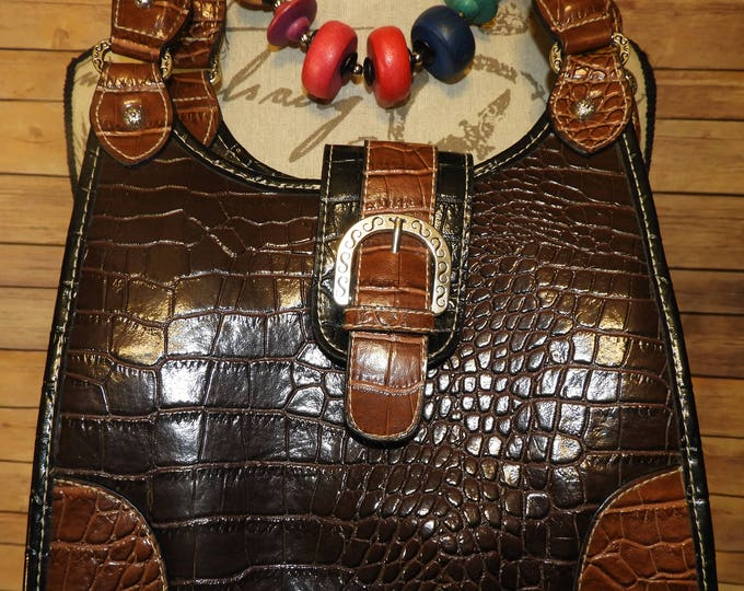 Vintage Rosetti Country Western Shoulder Handbag, Montana Southwestern Style Alligator Leather Faux Purse,Western Design Purse,Made in China