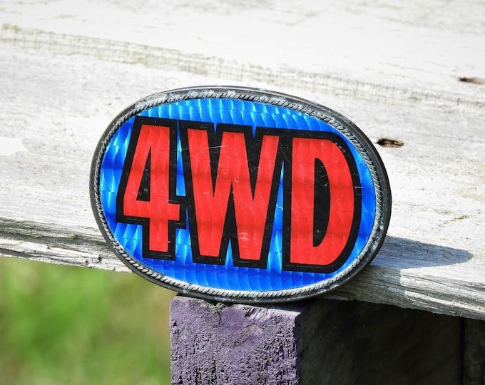 Vintage Belt Buckle, Mens Fashion Closet, Blue & Red Metal Buckle, 4WD Payan Lendo, Tijuana Mexico Cowboy Fashion, Retro Automotive Style