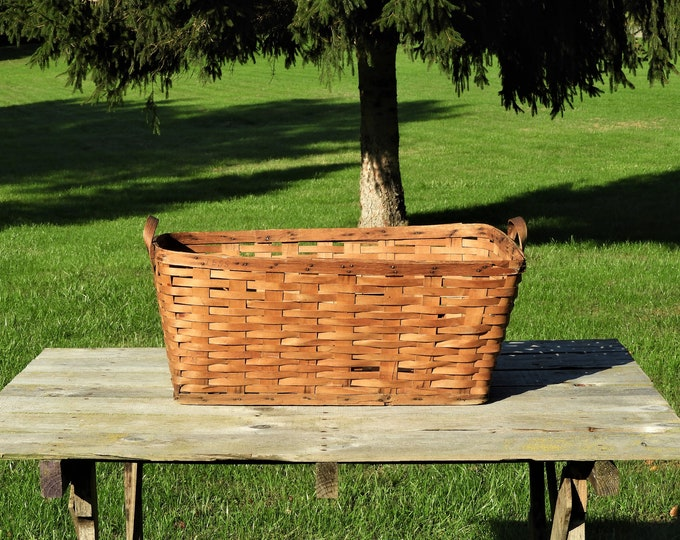 Antique Split Oak Basket, 1800s Country Basket, Wood Farmhouse Decor, 19th Century Decoration, Brown & Gold Home Decor, Wooden Collectibles