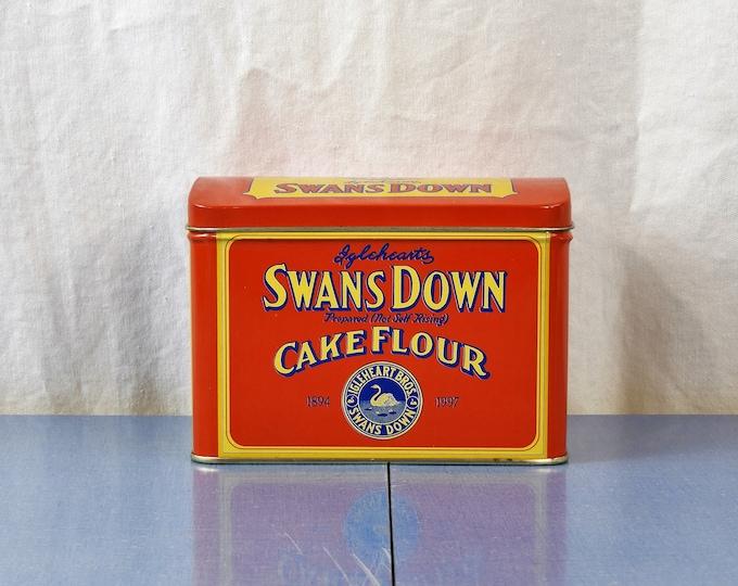 Vintage Flour Tin, Swans Down Flour, Kitchen Decor, Red & Yellow Storage Box, Advertising Collectible, Igleheart Bros, Metal Recipe Holder