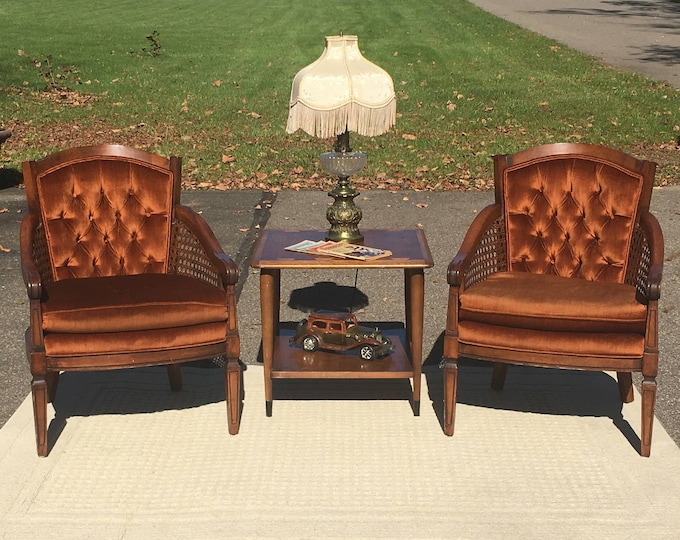 Vintage Rattan & Velvet Chair, Mid Century Furniture, Brown Copper Accent Chair, Decorative Tufted Arm Chair, Entryway Office Furniture