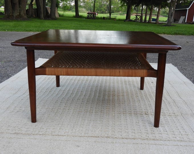 Vintage Mid-Century Teak Coffee Table, Modern Teak Wood & Rattan Coffee Table, Brown Gold Authentic Jason Denmark,Decorative LVR Accent