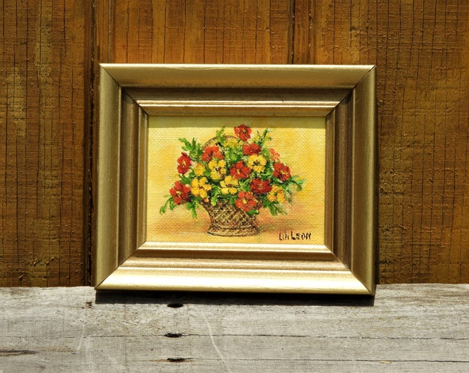 Vintage Flower Painting, W Leon Oil on Canvas, Yellow & Red Flower Bouquet, Wall Hanging Art, Gold Framed Decor, Small Decorative Picture