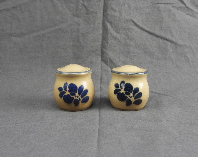Vintage Pfaltzgraff Shakers, Folk Art Kitchenware, Beige & Blue Stoneware, Kitchen Decor, Salt Pepper Shaker, Ceramic Arts, Table Decoration