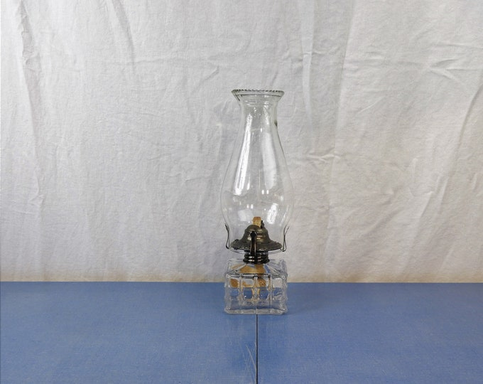 Vintage Oil Lamp, Lamplight Farms #5, Made in Austria, Clear Glass Base, Square Shape, Block Design, Rustic Patina Light, Home Decor