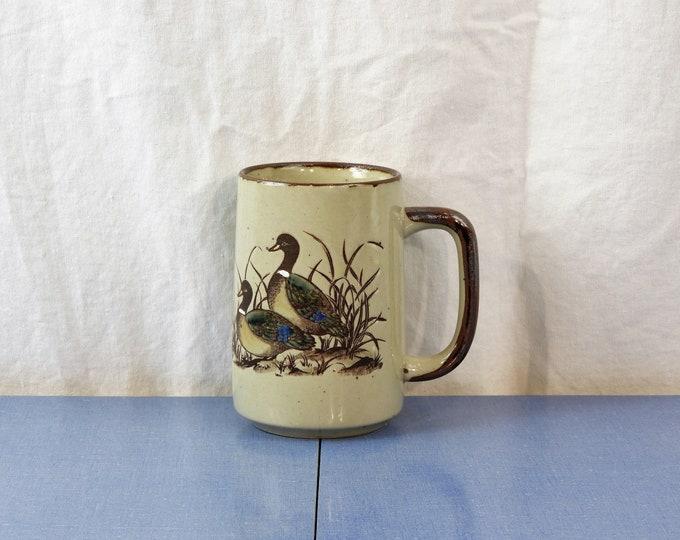 Vintage Wildlife Mug, Marshlands Decor, Beige Coffee Cup, Ringneck Ducks, Stoneware Decor, Ceramic Decoration, Earthtone Dinnerware