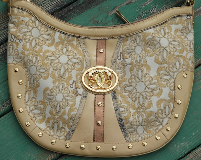 Vintage Sharif Handbag, Golden Banjo Style Shoulder Bag, Beige & Pink Leather Trim Hand Bag, Womens Fashion Bag, Retro Womens Style Purse