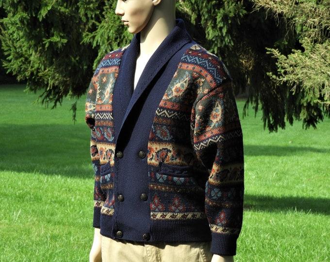 Vintage Wool Cardigan, Geccu Australian Sweater, Aussie Fashion, Superwash Machine Washable Clothing, Blue Paisley & Geometrical Shirt