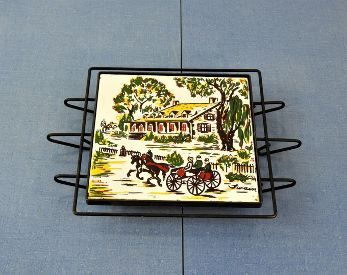 Vintage Villeroy & Boch Trivet, Signed by Twain, Danischburg Potholder, German Porcelain Decor, White and Green Pot Holder, Colonial Theme