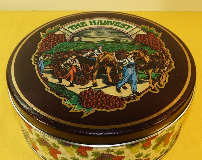 Vintage Collectible The Harvest Coffee Tin, Round The Harvest Coffee Tin, Round Floral Body Collectible Tin, Craft Supplies,Thanksgiving Box