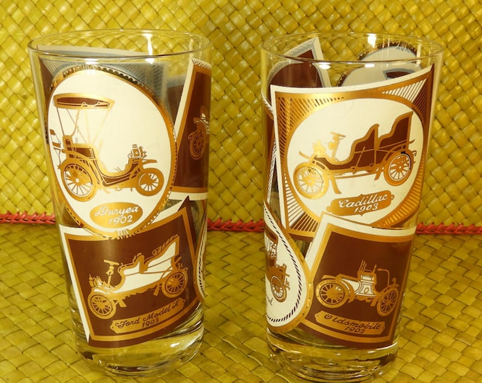 Vintage Antique Car Glasses (2), Collectible Car Glass Tumblers, Burgundy Gold & White Old Car Glasses, Cadillac Duryea Buick Ford Model A