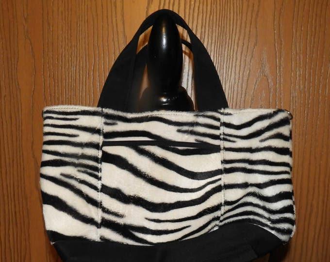 Vintage Zebra Stripe M.C. Top Handle Bag, Black and White Zebra Handbag Purse, Medium to Small Fur Look Exterior Bag, Clean M.C. Handbag