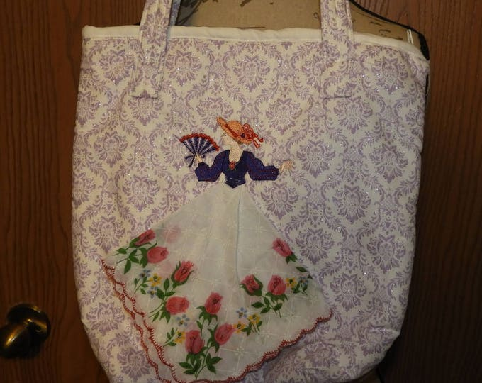 Rare Hanky Tote Bag, Sewn and Custom Embroidered Maiden Tote Hand Bag, White w/Purple Raised Silver Speckle Purse,Collectible Tote