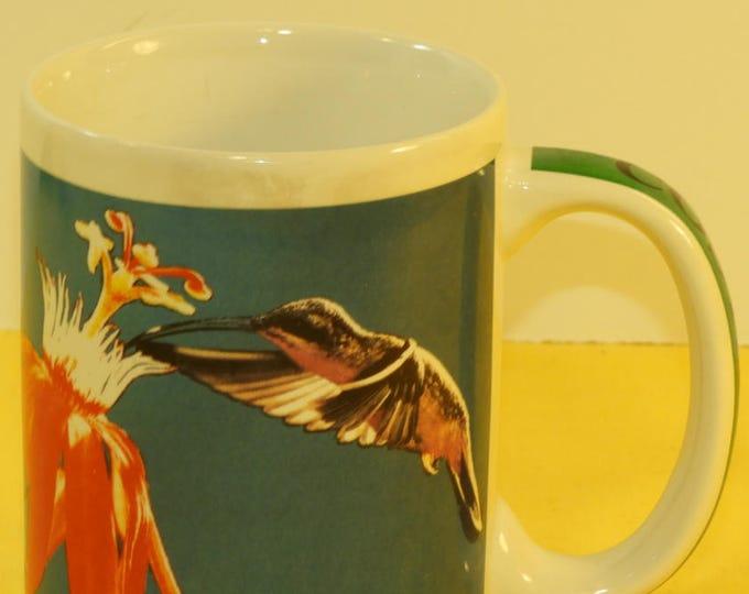 Vintage Costa Rica Mug Cup. Blue Green Hummingbird Souvenir Mug, South American Ceramic Mug, Flower Nectar Mug Memorabilia