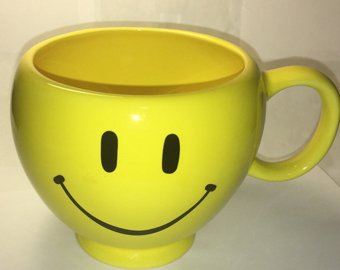 Vintage Happy Mug, Yellow Smile Mug, Ceramic Planter, Teleflora Candy Dish, Mug, made in China 4 1/8""