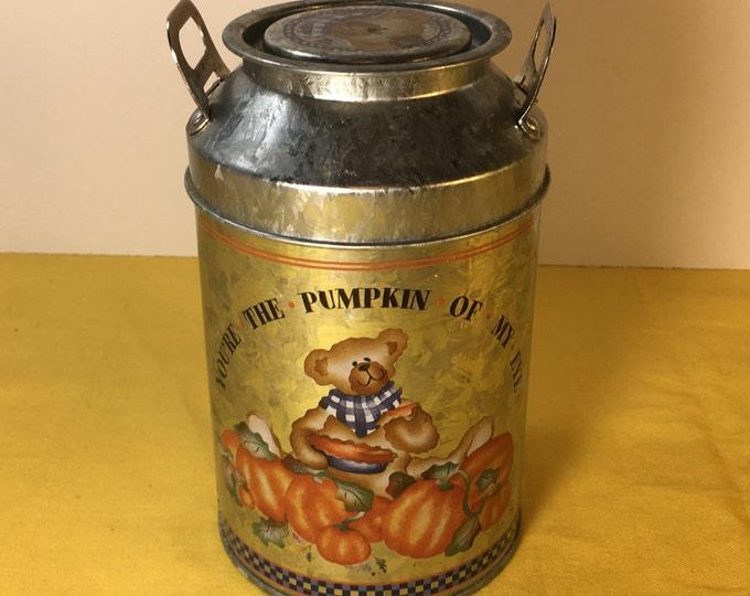 Vintage Miniature Milk Jug Tin, Teddy Bear Tin, Pumpkin Theme Tin Jar, Silver Orange Kitchen Canister