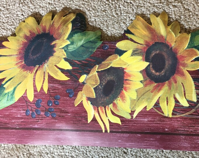 """Vintage Sunflower Wall Boarder 5 Yards, 6.75"""" Wall Boarder, York Yellow Brown Craft Paper,Sunflower Wall Border Paper, Decorative Chair Rail"""