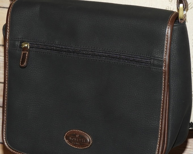 Vintage Rosetti Wisdom Messenger Hand Bag, Black Vinyl Rosetti Shopper Shoulder Bag, Rosetti Messenger Handbag, Made in China