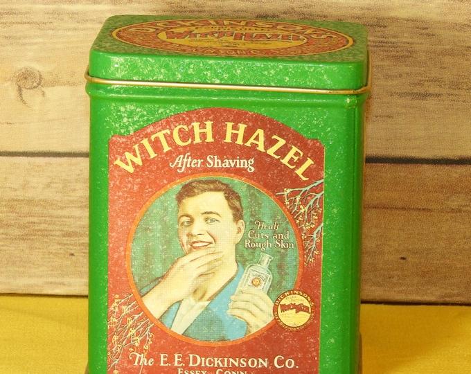 Vintage Dickenson's Witch Hazel Tin, Bristol Ware Green Tin, Witch Hazel Storage Tin, Green Memorabilia Box, Vanity Box, Made in Hong Kong