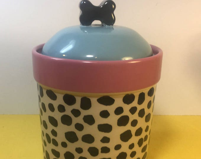Vintage Dalmation Canister, TBletops Umlimited Jar, Tabletops Lifestyle Kitchen Bath Canister Storage, Cheetah Leopard Vanity Storage Jar