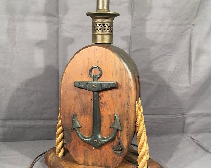 Vintage Anchor Lamp, Pulley Block Rope Accent Light, Decorative Brown Table Lamp, Cast Iron & Wood Nautical Statue, Block Tackle Ship Decor