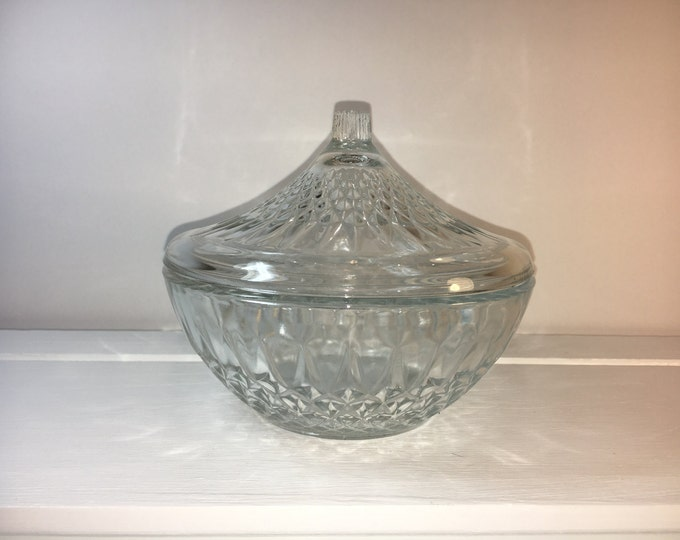 """Vintage Candy Bowl, KIM Collectible, Clear Glass, Covered Dish, Nut & Candy, Home Decor, Made in Indonesia, 5"""""""