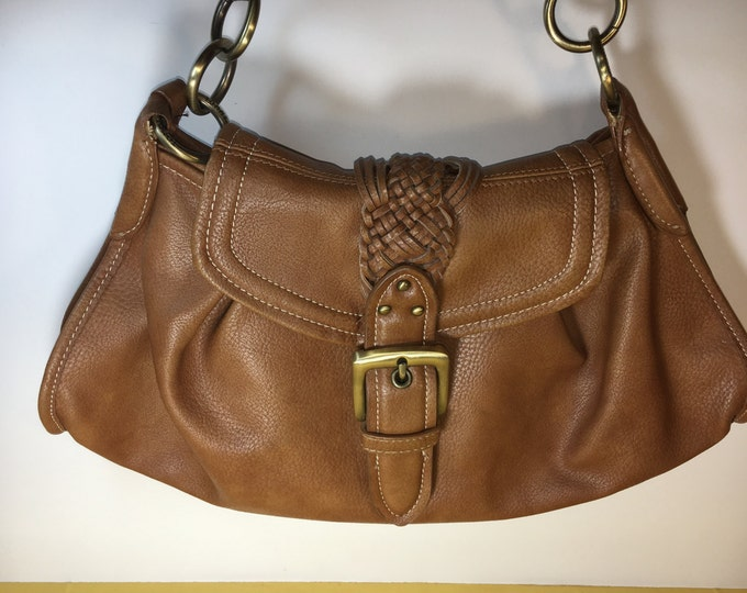 Vintage Leather Tommy HilfigerBag, Brown Hobo Bag Purse, Hilfiger Leather Purse Braided Leather Handle, Tommy Hilfiger Brass Rings Purse