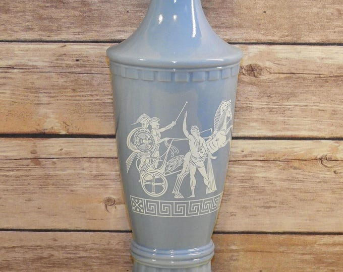Vintage Baby Blue Milk Glass Collectible Decanter, Decorative Greek Horse Chariot and Rider Theme, Light Baby Blue Bottle, Geometric Wine