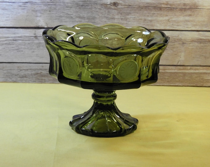 Vintage Fostoria Compote, Green Glass, Heavy Pedestal, 1887 Collectible, Eagle Coin, Wavy Scalloped Rim, Candy Bowl, Home Decor