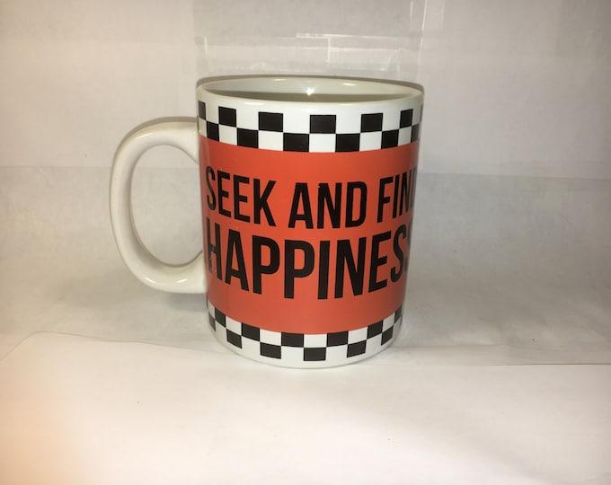 "Big Vintage Checkered Mug Cup Hot Drink Orange Black Letter ""Seek and Find Happiness"" Dennis East International made in China"