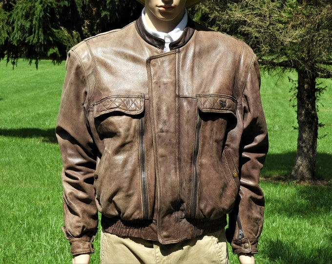 Vintage Leather Jacket, Firstgear Motorcycle Coat, Mens XL Riding Jacket, Hein Gericke Brown Bomber, First Gear Road Rash, Man Cave Apparel