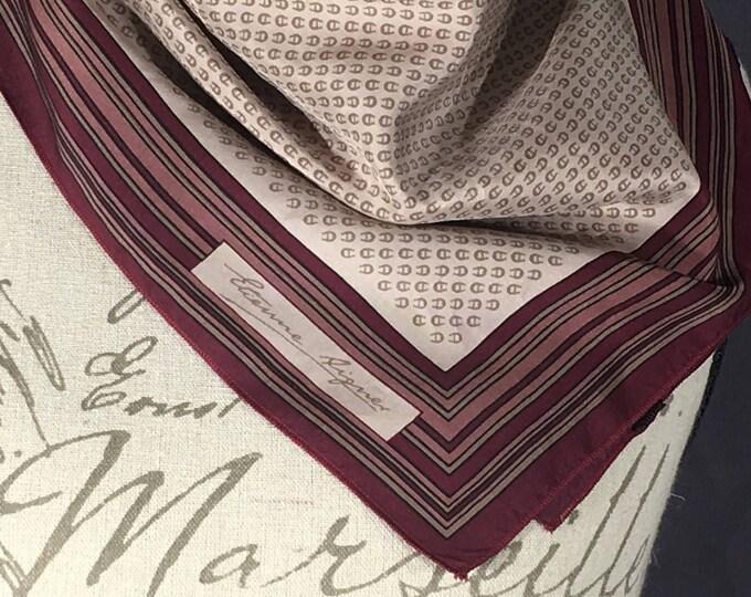Vintage Aigner Handkerchief, Etienne Aigner Collectible Handkerchief, Designer Women's Clothing, Purple & Gold Handkerchief