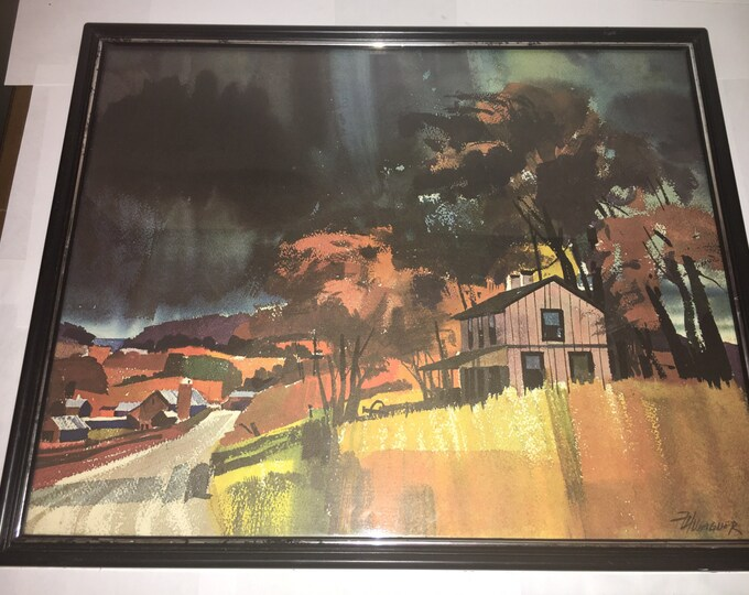 Vintage Frank H Wagner Art, Gathering Storm Picture, Watercolor Print, Everything But The House Framed, Decorative Wall Art